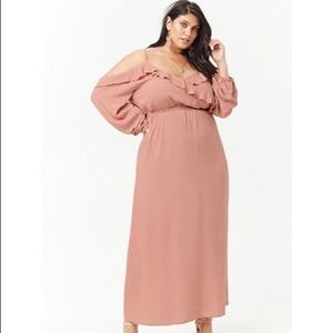 Forever 21 pink cold shoulder ruffled maxi dress.